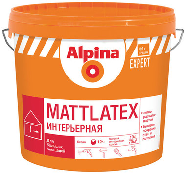 Краска ВД-ВАЭ Alpina EXPERT Mattlatex, белая, 15 л / 22,5 кг