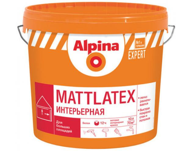 Краска ВД-ВАЭ Alpina EXPERT Mattlatex, белая, 10 л / 15 кг